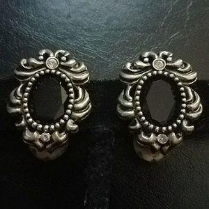 NWOT ST. JOHN signed silver clip earrings w amber